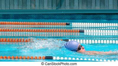 piscine, nageur, natation, mâle, 4k, intérieur