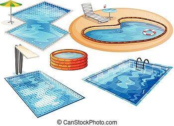 piscine, natation, ensemble