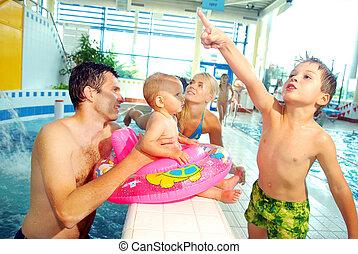 piscine, natation famille
