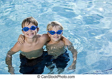 piscine, poser, frères, ensemble, natation