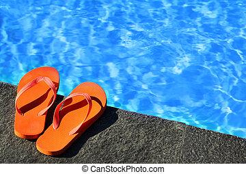 piscine, sandales