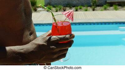 piscine, section, natation, mi, cocktail, tenue, homme, 4k, ...