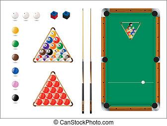 piscine, snooker, sport, icônes