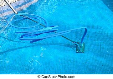 piscine, spain., equipement nettoyage