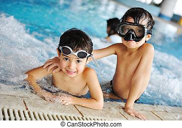 piscine, summer!, préparer, joie, enfants, bonheur