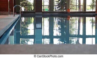 piscine, vide, natation, intérieur