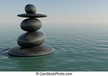 piscine, zen, rocher