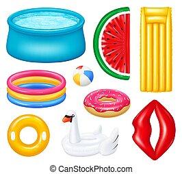 piscines, réaliste, gonflable, ensemble, accessoires