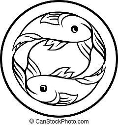 piscis, pez, zodíaco, signo horóscopo
