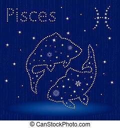 piscis, zodíaco, copos de nieve, señal