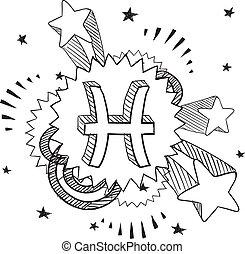 piscis, zodíaco, vector, taponazo