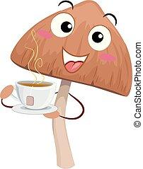 piscodelica, chá, cogumelo, ilustração, mascote