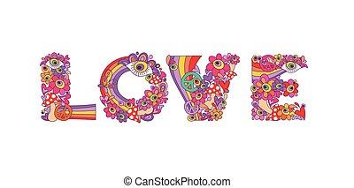 piscodelica, hippie, amor, lettering, com, coloridos,...