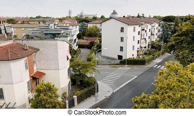 pise, mouvement, tuscany., célèbre, vue, ville, aérien, ...