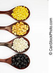 piselli, soie, nero, legno, eyed, br, arachidi, riso, cucchiaio, proprio