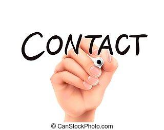 pisemny, kontakt, słowo, ręka