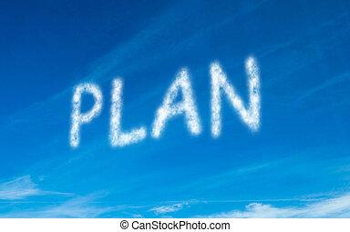 pisemny, niebo, biały, plan
