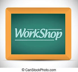 pisemny, warsztat, blackboard., ilustracja