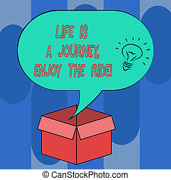 pismo, tekst, życie, jest, niejaki, podróż, cieszyć się, przedimek określony przed rzeczownikami, ride., pojęcie, treść, cieszący się, rzeczy, że, happen, codzienny, idea, ikona, wnętrze, czysty, halftone, bańka mowy, na, na, otwarty, karton, box.