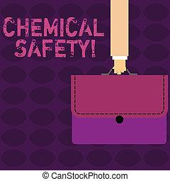pismo, tekst, chemiczny, safety., pojęcie, treść, praktyka, pomniejszając, ryzyko, ekspozycja, chemikalia, jakiś, środowisko, biznesmen, ręka, transport, barwny, aktówka, teczka, z, oczko, applique.