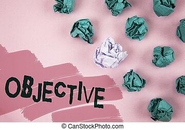 pismo, tekst, objective., pojęcie, treść, gol, planowy, do, czuć się, dokonywany, upragniony, tarcza, towarzystwo, misja, pisemny, na, barwiony, różowe tło, zmięty papier, piłki, obok, it.