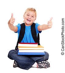 piso, actuación, incorporar, pulgares, colegial