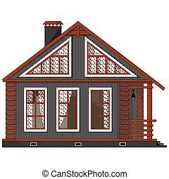 piso, adornado, single-storey, fachada, ático, casa, grande, cortinas, windows