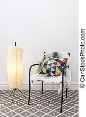 piso, brillante, elegante, lámpara, cojín, silla