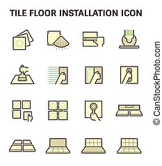 piso de azulejo, icono
