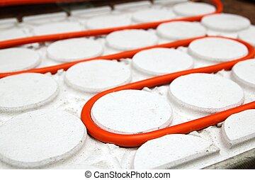 piso, patrón, tubo, calefacción, tubo, curvo, círculo, ...