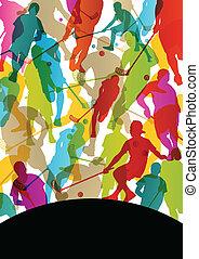 piso, pelota, jugadores, activo, hombres, deporte, siluetas,...