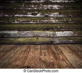 piso, tablones, pared, de madera