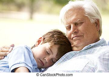 pisolino, presa, insieme, nipote, nonno