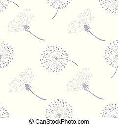 pissenlit, modèle, voler, pissenlits, seamless, illustration, vecteur, graines, floral, vent