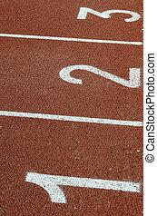 pista, atleta, salida