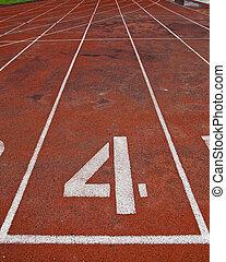 pista, atletismo, pista, número, 4.