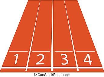 pista, atletismo, vector, ilustración