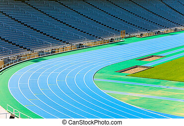 pista, barcelona., correndo, olimpico, stadium.