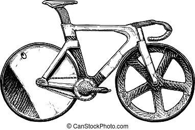 pista, bicicleta, ilustração