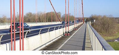 pista bicicleta, ligado, ponte suspensão
