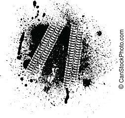 pista, blots, neumático, tinta