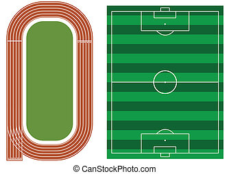 pista, campo, atletismo, futbol