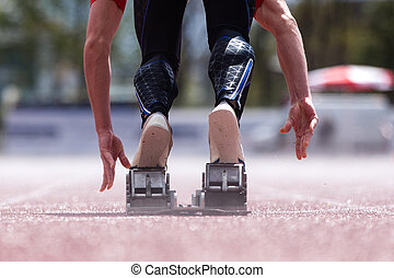 pista, campo, sprint, comienzo