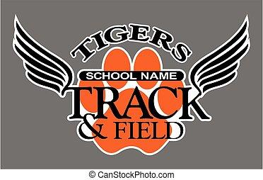 pista, campo, tigres