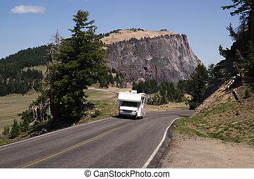 pista, campo, viagem, recreacional, dois, excursionar, caminhão, veículo