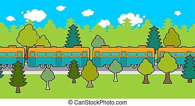 pista, car, trem, ornament., pattern., ilustração, experiência., vetorial, estrada ferro, ferrovia