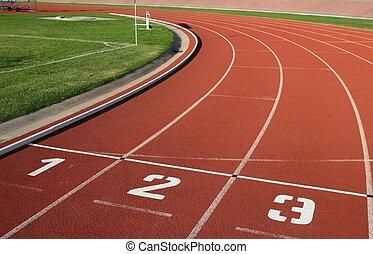 pista, carril, números, athlectics