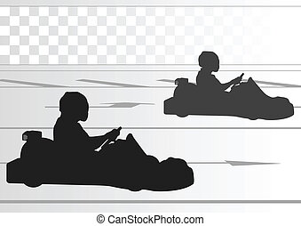 pista, conductor, carrito, carrera, plano de fondo, ir, ...