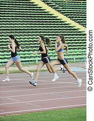 pista, corriente, carrera, niñas, atletismo