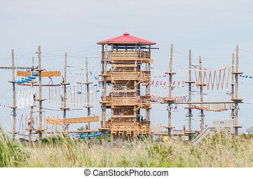 pista de obstáculos, torre